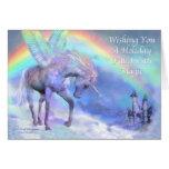 Unicornio de la tarjeta del día de fiesta del arco