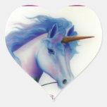 Unicornio de la tarjeta del día de San Valentín Pegatina En Forma De Corazón