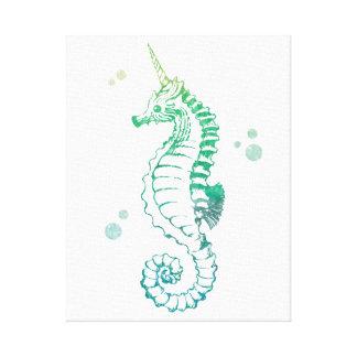 Unicornio de las ilustraciones del mar impresion de lienzo