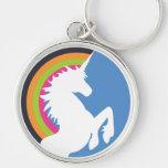 unicornio de los años 80 y llavero retros del arco