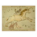 Unicornio de Monoceros de la astrología de la Postal