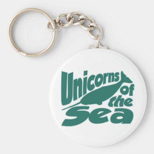 Unicornio de Narwhal del mar Llavero Redondo Tipo Pin