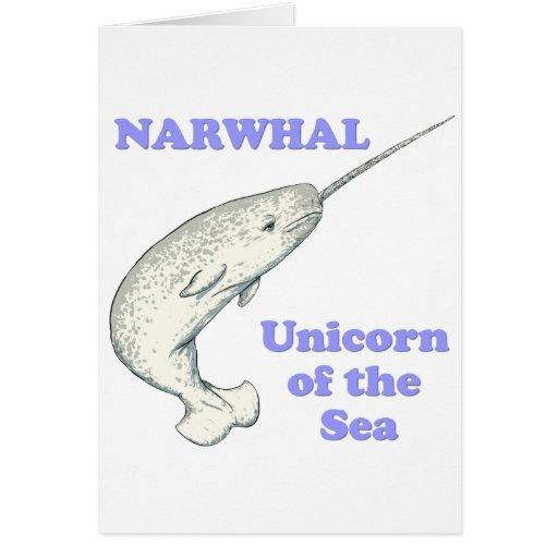 Unicornio de Narwhal del mar Tarjetón