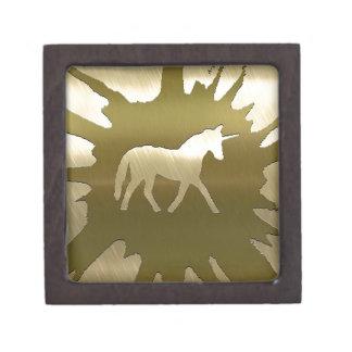 unicornio de oro del arte del metal cajas de regalo de calidad