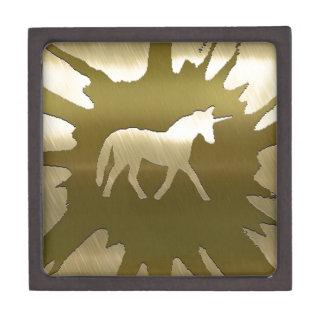 unicornio de oro del arte del metal caja de joyas de calidad