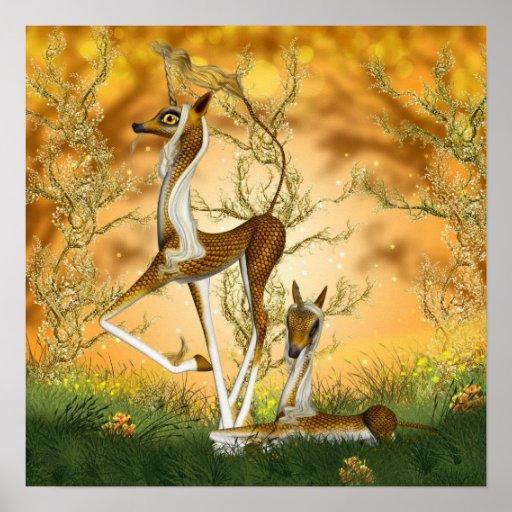 Unicornio de oro Kirin y arte de la fantasía del p Póster