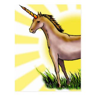 Unicornio de oro tarjeta postal