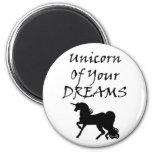 Unicornio de sus sueños (negro) imán redondo 5 cm