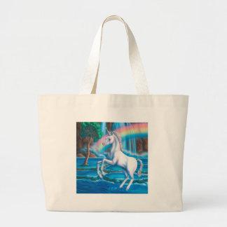Unicornio del arco iris bolsa tela grande