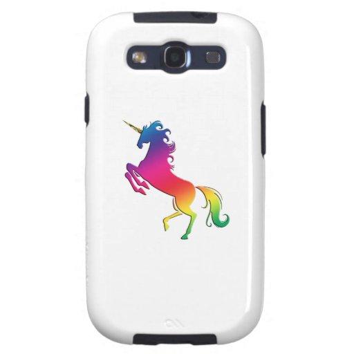 Unicornio del arco iris con el cuerno del oro samsung galaxy SIII funda