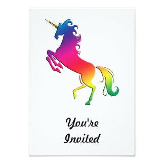 """Unicornio del arco iris con el cuerno del oro invitación 5"""" x 7"""""""
