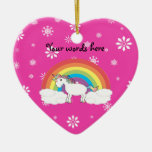 Unicornio del arco iris con los copos de nieve ornamentos de reyes magos