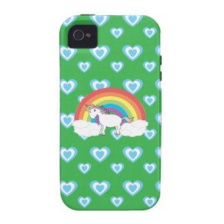 Unicornio del arco iris con verde azul de los cora iPhone 4/4S carcasas