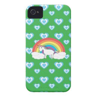 Unicornio del arco iris con verde azul de los cora iPhone 4 cobertura