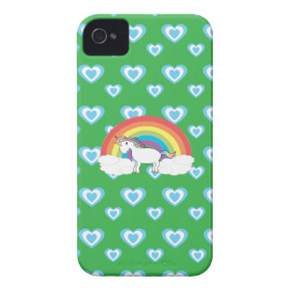 Unicornio del arco iris con verde azul de los cora iPhone 4 Case-Mate funda