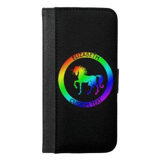 Unicornio del arco iris en caja negra del teléfono