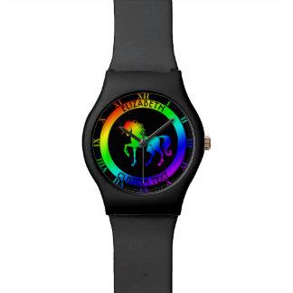 Unicornio del arco iris en círculos negros reloj de mano