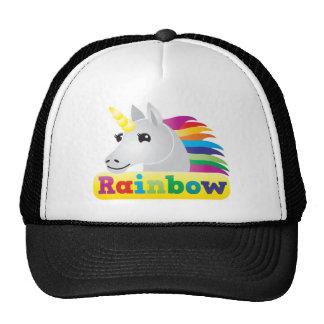 Unicornio del arco iris gorros bordados