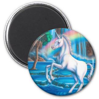 Unicornio del arco iris imán redondo 5 cm
