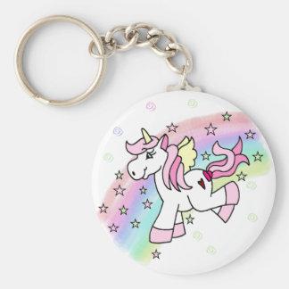 Unicornio del arco iris llavero redondo tipo pin