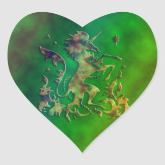 Unicornio del arco iris pegatina en forma de corazón