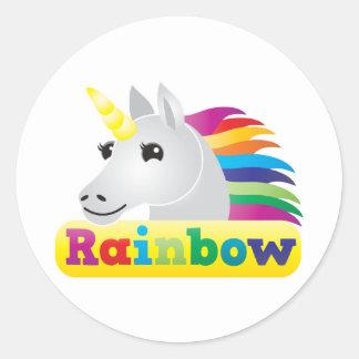Unicornio del arco iris pegatina redonda
