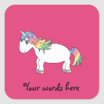 Unicornio del arco iris pegatinas cuadradases personalizadas