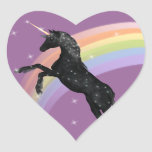 Unicornio del arco iris pegatina de corazón