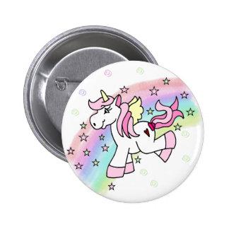 Unicornio del arco iris pin redondo 5 cm
