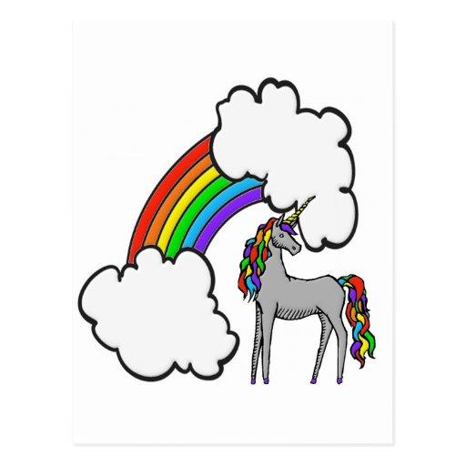 Unicornio del arco iris postal