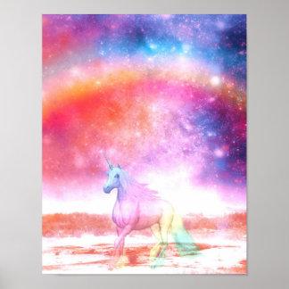 Unicornio del arco iris póster