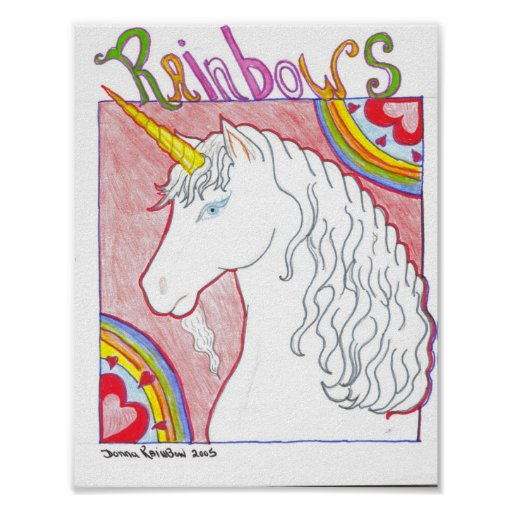 Unicornio del arco iris posters