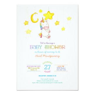"""Unicornio del arco iris que cuelga de fiesta de invitación 5"""" x 7"""""""