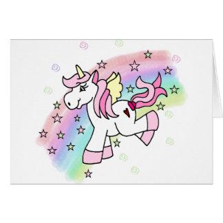 Unicornio del arco iris tarjeta de felicitación