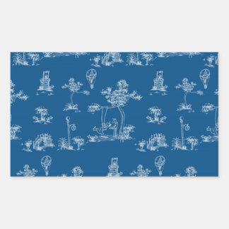 Unicornio del azul de Toile Pegatina Rectangular