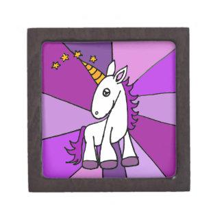 Unicornio del bebé con arte de oro del cuerno caja de regalo de calidad