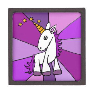 Unicornio del bebé con arte de oro del cuerno caja de joyas de calidad