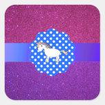 Unicornio del brillo colcomanias cuadradas
