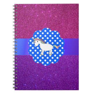 Unicornio del brillo libros de apuntes