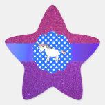 Unicornio del brillo calcomanía cuadrada personalizada