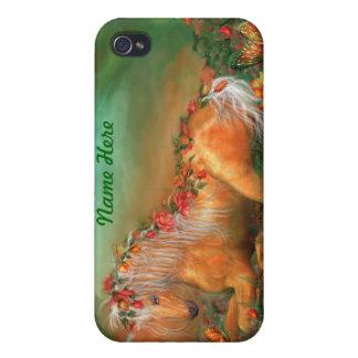 Unicornio del caso del arte de los rosas para IPho iPhone 4/4S Carcasa