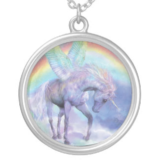 Unicornio del collar usable del arte del arco iris