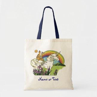 Unicornio del cuento de hadas bolsa lienzo
