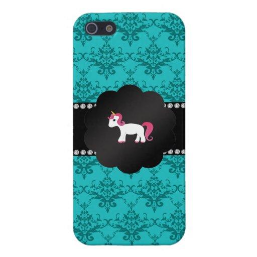 Unicornio del damasco de la turquesa iPhone 5 funda