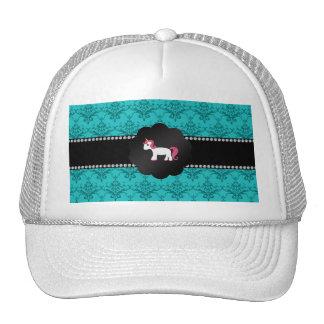 Unicornio del damasco de la turquesa gorras de camionero