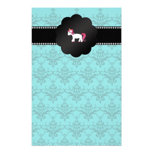 Unicornio del damasco de la turquesa papeleria de diseño