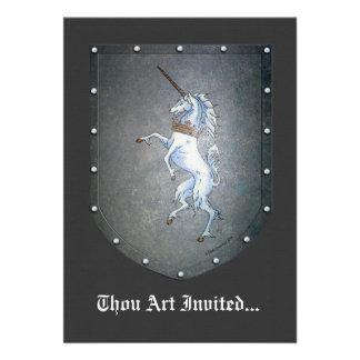 Unicornio del escudo del metal