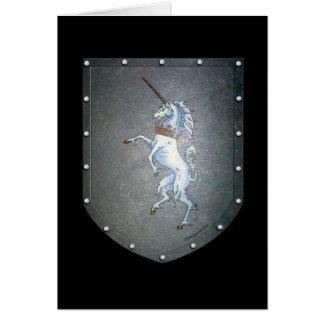 Unicornio del escudo del metal tarjeta
