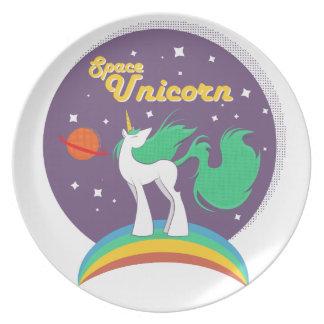 Unicornio del espacio plato para fiesta