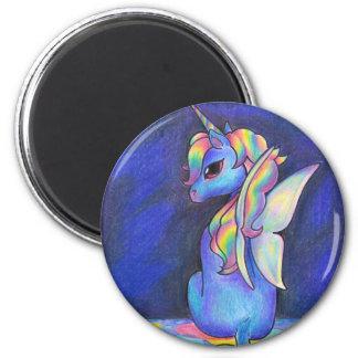 Unicornio del Faerie del arco iris Imán Redondo 5 Cm